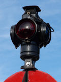 Red Light. Old fashioned traffic lantern on historic narrow gauge railroad royalty free stock photography