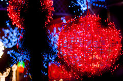 Red light ball. Blury white lights_red bright balls behind Stock Photography