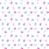 Red and light blue watercolor hearts and bows Royalty Free Stock Photography