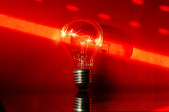 Red light bulb. Photo light bulb on the red background Royalty Free Stock Image