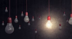 Red light bulb on dark background idea concept. 3D Rendering Stock Photo