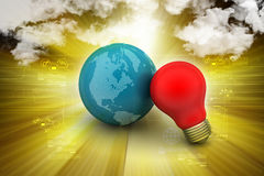 Red light bulb with earth. In color background Stock Photography