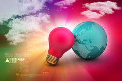 Red light bulb with earth. In color background Stock Image