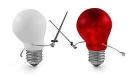 Red light bulb fighting duel with swords against white one. On white Royalty Free Stock Images