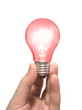 Red light bulb in hand Stock Photos