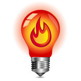 Energy concept, fire inside the light bulb. Red light bulb,  isolated on white Royalty Free Stock Photo