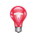 Red light bulb isolated on white Royalty Free Stock Images