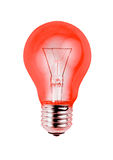 Red light bulb isolated on white background Royalty Free Stock Photos