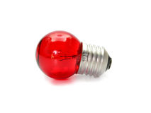 Red light bulb isolated on white background Royalty Free Stock Photography