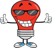 Red Light Bulb With Sunglasses Giving A Double Thumbs Up Stock Images