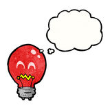 red light bulb with thought bubble Stock Photos