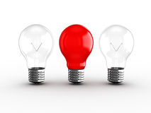 Red Light Bulb Among Two Stock Photography