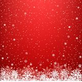 Red light dark snow background. Red glowing light snow background. Falling snowflakes blizzard backdrop. Christmas winter decoration design template Stock Images