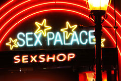 Red Light District. Neon signs of sexshop in red light district, Amsterdam Royalty Free Stock Photos