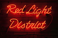 Red Light District. Neon sign in Amsterdam, Netherlands Stock Photo