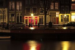 Red light district in Amsterdam Netherlands. View at red light district in Amsterdam Netherlands Stock Photos