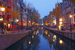 Red light district in Amsterdam Netherlands at night Royalty Free Stock Images