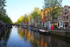 Red Light District Canal - Amsterdam Stock Image