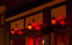 Red Light District. Red lanterns on the wall in Red Light District in Amsterdam, Netherlands Stock Photography