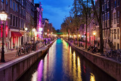 Red Light District by Night in Amsterdam Stock Photos
