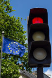 Red light and European Union flag Royalty Free Stock Images
