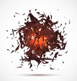 Red light explosion of black particles on white. Background. Vector illustration Royalty Free Stock Photo