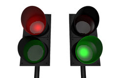 Red light, green light. Traffic lights; 3D rendered image Royalty Free Stock Photos