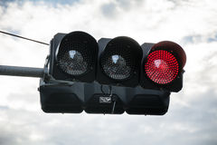 Red light. Horizontal traffic light showing red for stop Royalty Free Stock Image