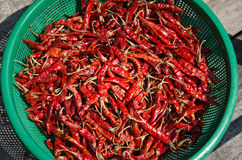 Close up of Dried red pepper on the street in asia Royalty Free Stock Image