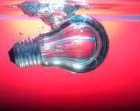 Red light and lamp deep underwater. Close up red light and lamp deep underwater Stock Photos