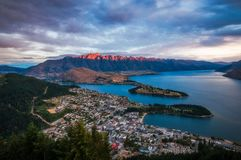 Red light on the mountain in Queenstown at sunset Stock Photography