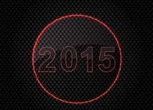Red light New Year 2015 on metal. Background stock illustration