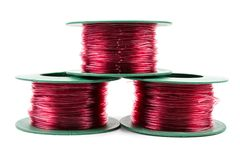 Red light Nylon line in green plastic roll. royalty free stock photo