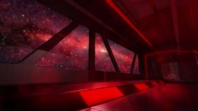 Red Light Observation Windows Inside Space Ship