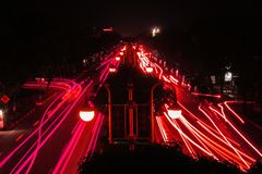 Red Light Painting by Cars royalty free stock image