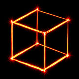 Red light painting necker cube Stock Photography