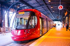 Free Red Light Rail On The Track At Central Railway Station. Royalty Free Stock Photo - 123445815