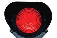 Red light railway traffic signal isolated. Red light railway traffic dwarf signal set at stop / danger, isolated, railroad ground mounting lamp Royalty Free Stock Photography