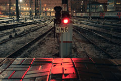 Red light signal at night on Kazansky rail station in Moscow, Russia Stock Photos