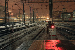 Red light signal at night on Kazansky rail station in Moscow, Russia Stock Image