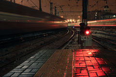 Red light signal at night on Kazansky rail station in Moscow, Russia Stock Photography
