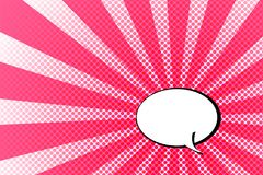 Red light sun ray with speech bubble on dots background. For comic style Royalty Free Stock Photography