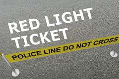 Red Light Ticket concept. 3D illustration of RED LIGHT TICKET title on the ground in a police arena Stock Photo