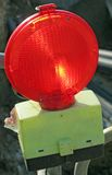 Red light to signal a road construction site Stock Photo