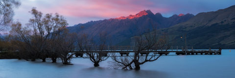 Red Light at Tooth Peaks, Glenorchy Stock Photography