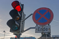 Red light. Red traffic light with forbidding sign Royalty Free Stock Photography