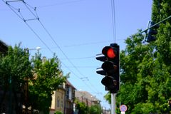 Red light at traffic lights Royalty Free Stock Photography