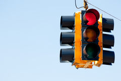 Red light traffic signal with copy space. A red light traffic signal with blue sky copy space Stock Photography