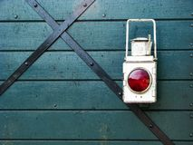 Red light on a wooden background Stock Photography