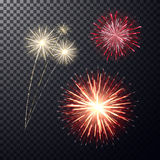Red and light yellow firework on transperent background. Realistic bright festive firework, big sparkling salute and flashes on transparent backdrop. Design Royalty Free Stock Photography